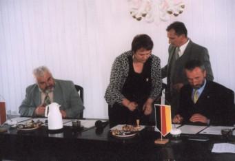 Unterzeichnung des Zusammenarbeitsvertrages der Gemeinde Swidwin und der Gemeinde Sanitz
