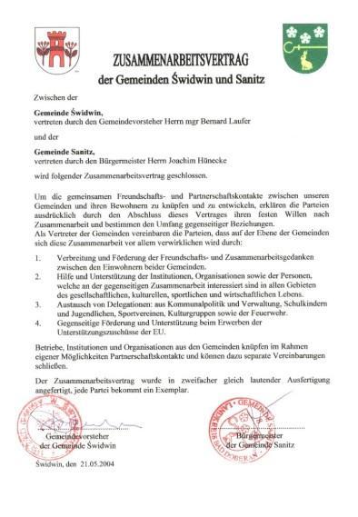Im feierlichen Rahmen wurden die Unterschriften unter folgenden Vertrag geleistet.